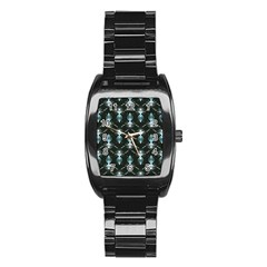 Seamless Pattern Background Black Stainless Steel Barrel Watch by HermanTelo