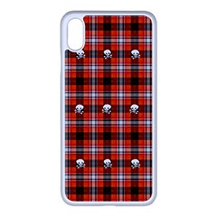Plaid Pattern Red Squares Skull Iphone Xs Max Seamless Case (white) by HermanTelo