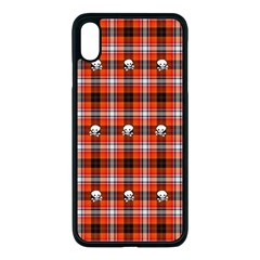 Plaid Pattern Red Squares Skull Iphone Xs Max Seamless Case (black)