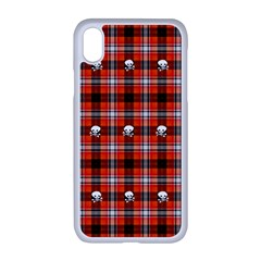 Plaid Pattern Red Squares Skull Iphone Xr Seamless Case (white)