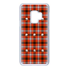 Plaid Pattern Red Squares Skull Samsung Galaxy S9 Seamless Case(white)