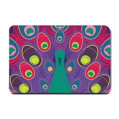 Peacock Bird Animal Feathers Small Doormat  by HermanTelo