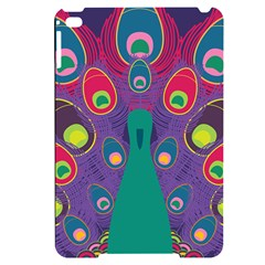 Peacock Bird Animal Feathers Apple Ipad Mini 4 Black Uv Print Case by HermanTelo