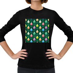 Tulips Seamless Pattern Background Women s Long Sleeve Dark T-shirt by HermanTelo