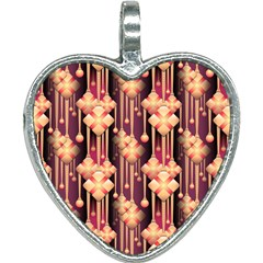 Seamless Pattern Plaid Heart Necklace