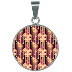 Seamless Pattern Plaid 25mm Round Necklace