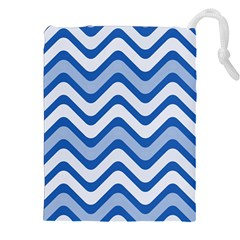 Waves Wavy Lines Drawstring Pouch (xxl) by HermanTelo