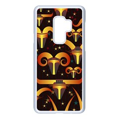 Stylised Horns Black Pattern Samsung Galaxy S9 Plus Seamless Case(white) by HermanTelo