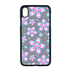 Seamless Pattern Flowers Pink Iphone Xr Seamless Case (black)