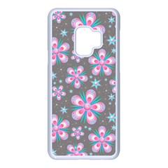 Seamless Pattern Flowers Pink Samsung Galaxy S9 Seamless Case(white)