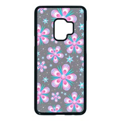 Seamless Pattern Flowers Pink Samsung Galaxy S9 Seamless Case(black)