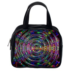 Wave Line Colorful Brush Particles Classic Handbag (one Side) by HermanTelo