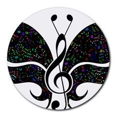 Butterfly Music Animal Audio Bass Round Mousepads by HermanTelo