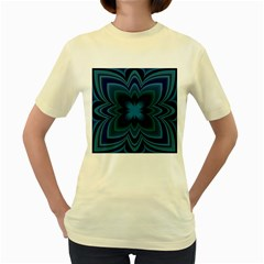 Blue Geometric Flower Dark Mirror Women s Yellow T-shirt