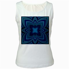 Blue Geometric Flower Dark Mirror Women s White Tank Top