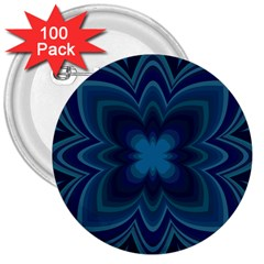 Blue Geometric Flower Dark Mirror 3  Buttons (100 Pack)
