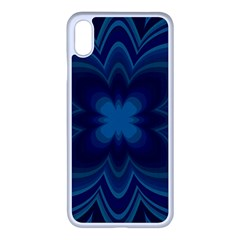 Blue Geometric Flower Dark Mirror Iphone Xs Max Seamless Case (white) by HermanTelo