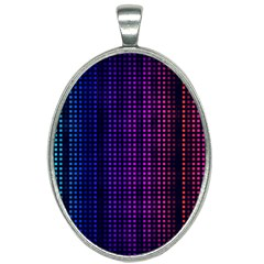 Abstract Background Plaid Oval Necklace by HermanTelo