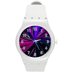 Abstract Background Lightning Round Plastic Sport Watch (m)