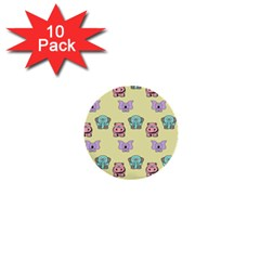Animals Pastel Children Colorful 1  Mini Buttons (10 Pack)  by HermanTelo