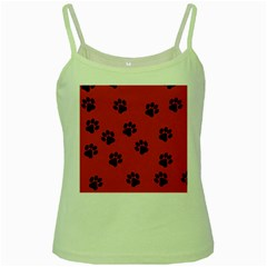Paw Prints Background Animal Green Spaghetti Tank