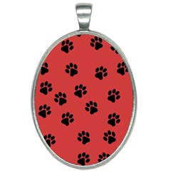 Paw Prints Background Animal Oval Necklace by HermanTelo