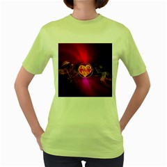 Flame Heart Smoke Love Fire Women s Green T Shirt