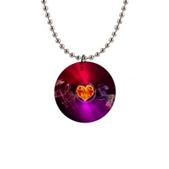 Flame Heart Smoke Love Fire 1  Button Necklace