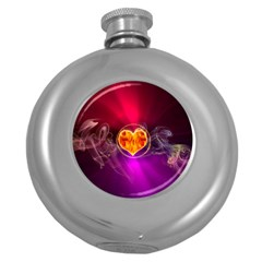 Flame Heart Smoke Love Fire Round Hip Flask (5 Oz) by HermanTelo