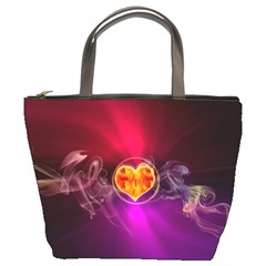 Flame Heart Smoke Love Fire Bucket Bag by HermanTelo