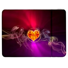 Flame Heart Smoke Love Fire Samsung Galaxy Tab 7  P1000 Flip Case by HermanTelo
