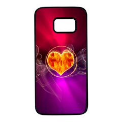 Flame Heart Smoke Love Fire Samsung Galaxy S7 Black Seamless Case by HermanTelo