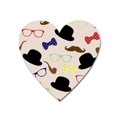 Moustache Hat Bowler Heart Magnet by HermanTelo