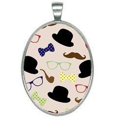 Moustache Hat Bowler Oval Necklace