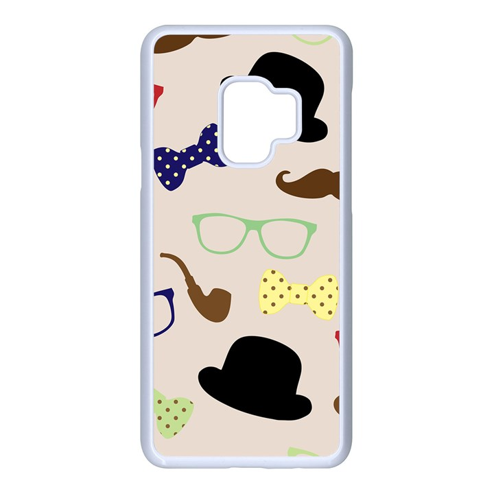 Moustache Hat Bowler Samsung Galaxy S9 Seamless Case(White)