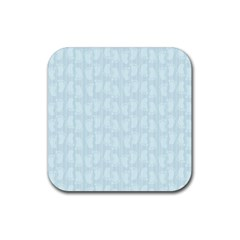 Footprints Pattern Paper Scrapbooking Blue Rubber Coaster (square)  by HermanTelo