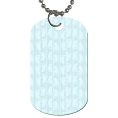 Footprints Pattern Paper Scrapbooking Blue Dog Tag (two Sides) by HermanTelo