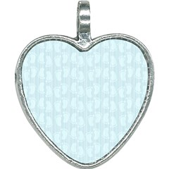 Footprints Pattern Paper Scrapbooking Blue Heart Necklace