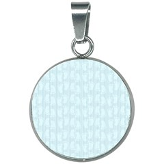 Footprints Pattern Paper Scrapbooking Blue 20mm Round Necklace by HermanTelo