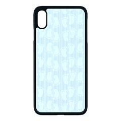 Footprints Pattern Paper Scrapbooking Blue Iphone Xs Max Seamless Case (black)