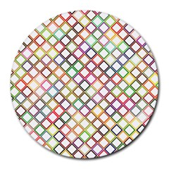 Grid Colorful Multicolored Square Round Mousepads by HermanTelo