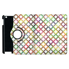 Grid Colorful Multicolored Square Apple Ipad 2 Flip 360 Case by HermanTelo