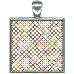 Grid Colorful Multicolored Square Square Necklace by HermanTelo