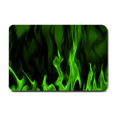 Smoke Flame Abstract Green Small Doormat  by HermanTelo
