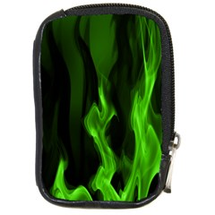 Smoke Flame Abstract Green Compact Camera Leather Case by HermanTelo