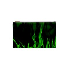 Smoke Flame Abstract Green Cosmetic Bag (small)