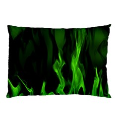 Smoke Flame Abstract Green Pillow Case (two Sides)
