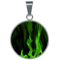 Smoke Flame Abstract Green 25mm Round Necklace