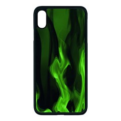 Smoke Flame Abstract Green Iphone Xs Max Seamless Case (black)