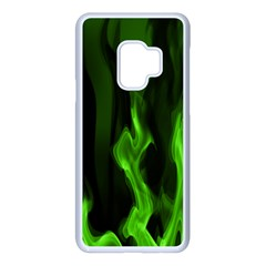 Smoke Flame Abstract Green Samsung Galaxy S9 Seamless Case(white)